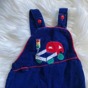 Other - Vintage blue corduroy overalls truck red light